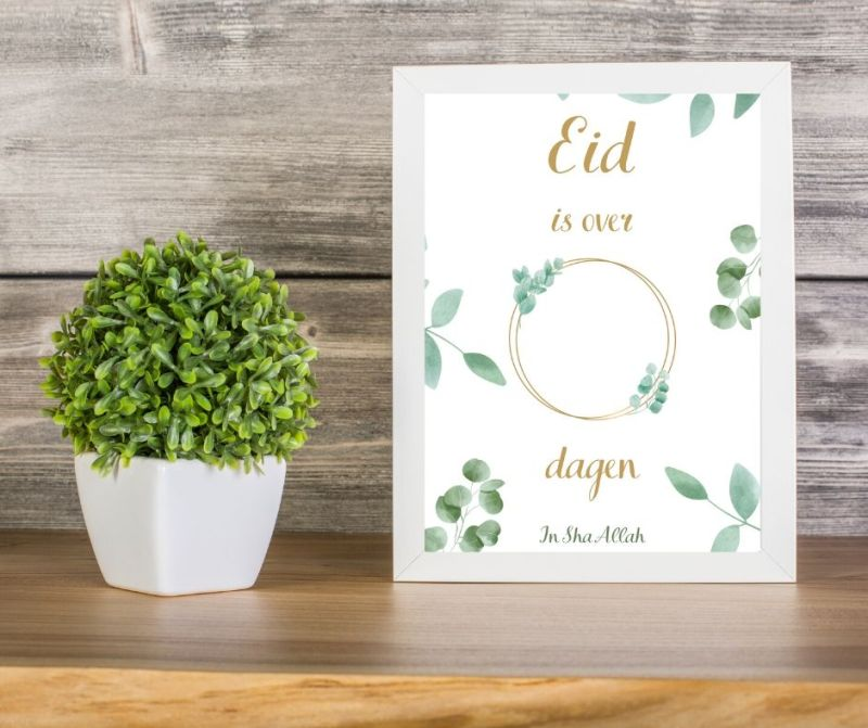 Eid aftelkalender poster printable A4 afdrukken printen instant download Green
