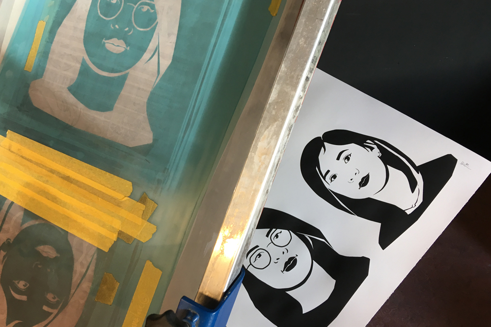 Screenprinting portraits by Piini Piru