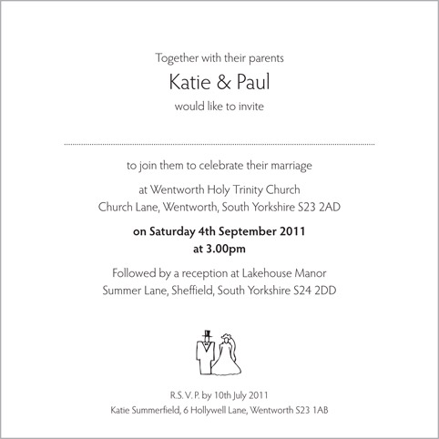 Wedding Invitation Wording From Bride And Groom