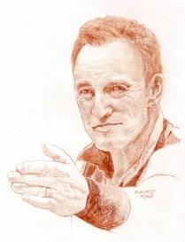 RACHEL HEWITT - Vivo negli Stati Uniti e ho avuto la fortuna di vedere più volte Bruce. Tre anni fa, ho frequentato un corso di disegno di ritrattattistica e da allora mio marito è stato il mio modello molte volte. Questo concorso mi ha dato l'opportunità di disegnare il mio PROSSIMO marito.