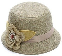 IL Caldo Women's Flax straw hat shading ventilation sun hat fascinators,Beige