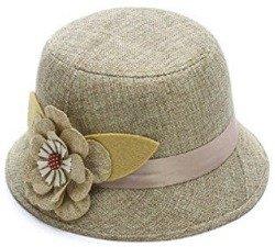 IL Caldo Women's Flax straw hat shading ventilation sun hat fascinators,Beige