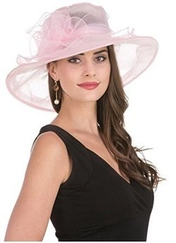 1C SAFERIN Women's Organza Church Kentucky Derby Fascinator Bridal Tea Party Wedding Hat pink big bow knot