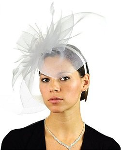 NYFASHION101 Elegant Formal Curlicue Center Sinamay Fascinator Headband - White