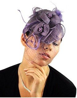NYFASHION101 Cocktail Fashion Sinamay Fascinator Hat Flower Design & Net F09085, Lilac