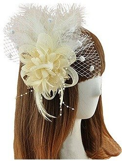 Coolr Fascinator Hair Clip Feather Wedding Headwear Bridal Headpiece for Women (Beige)