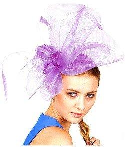NYfashion101 Cocktail Elegant Ruffle Feather Sinamay Fascinator Headband (Lilac)