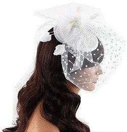 Tea Time Fascinator Hair Clip Hat with Flowers Feathers Polka Dot Net and Veil for Adults Women Teens (White)