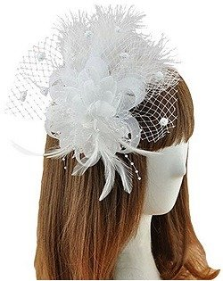 Coolr Fascinator Hair Clip Feather Wedding Headwear Bridal Headpiece for Women (White)