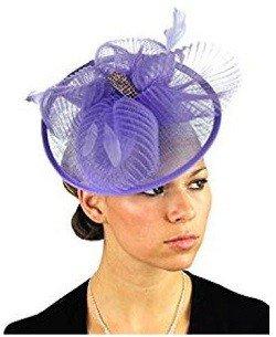 NYFASHION101 Cocktail Fashion Sinamay Fascinator Hair Clip Design & Mesh - Lilac