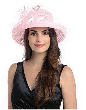 Dantiya Lady's Organza Wide Brim Bowler Hat Kentucky Derby Church Dress Sun Hat Light Pink