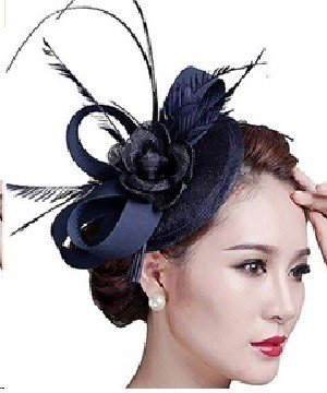 Fascigirl Sinamay Navy Blue Fascinator Hat Feather Party Pillbox Hat Flower Derby Hat for Women