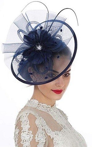 Lucky Leaf Women Girl Fascinators Hair Clip Hairpin Hat Feather Cocktail Wedding Tea Party Hat Navy Blue