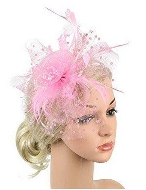 Xflyee Light Pink Fascinators Hat Flower Mesh Ribbons Feathers Tea Party Cocktail Headband for Girls and Women
