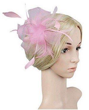 Vimans Women's Handmade Flower Feather Veil Hats Wedding Hair Clip Fascinators – Light Pink