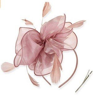 DRESHOW Light Pink Fascinators Hat Tea Party Headwear Ribbons Feathers on a Headband and a Clip for Girls and Women