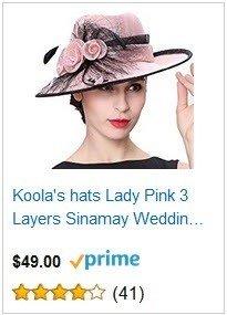 Koola's hats Champagne Brown 3 Layers Sinamay Kentucky Derby Church Sun Summer Hats - Pink