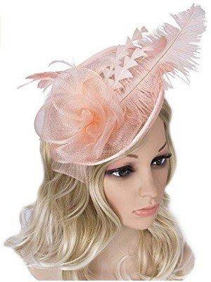 Tea Party Feather Headpiece Pink Fascinator
