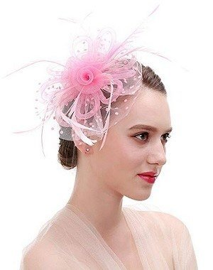 FIRYIN Pink Feather Fascinators Headband and Clip For Women Tea Party Bridal Cocktail