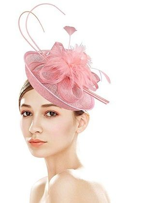 Z&X Sinamay Pink Fascinator With Headbad Feather Floral Pillbox Hat For Women Cocktail