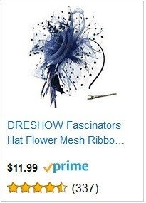 DRESHOW Navy Blue Fascinators Hat Flower Mesh Ribbons Feathers on a Headband and a Clip Tea Party Headwear for Girls and Women