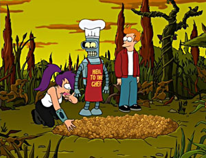 Image of Fry, Bender, and Leela when they discovered the pits full of popplers on the nursery planet.