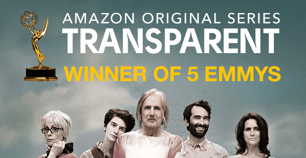 "Image with text ""Amazon Original Series Transparent Winner of 5 Emmys"""