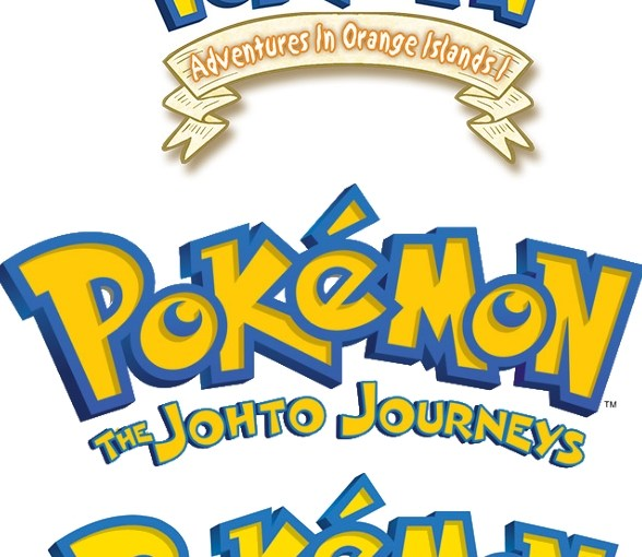 Image of the five pokemon tv show logos in order of air date.