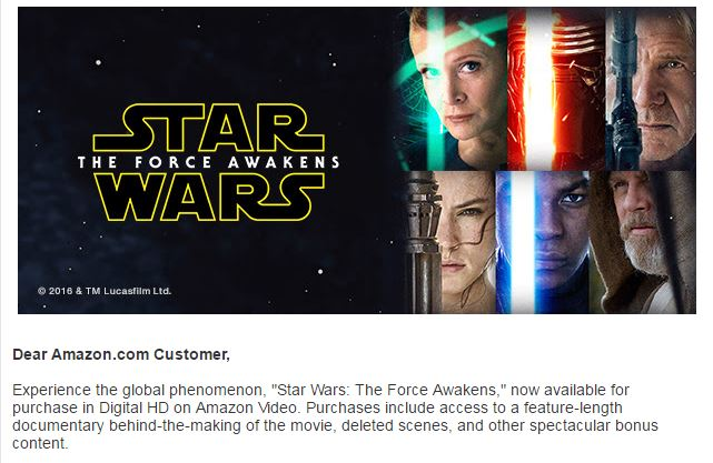 A screen capture of Amazon's Star Wars The Force Awakens marketing email.