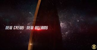 Image of New Star Trek insignia with text 'New Crew, New Villains'