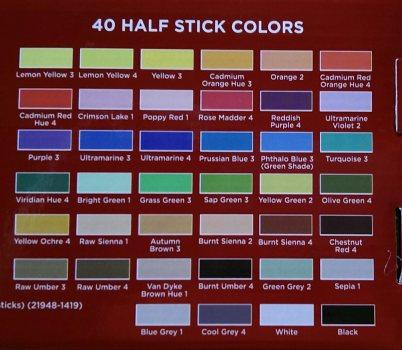 The back of Dick Blick's 40 piece half stick soft pastel set.