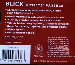 The back of Dick Blick's 40 piece half stick soft pastel set.