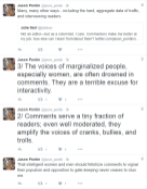 """If you can't read Jason Pontin's tweets they state """"That intelligent women and men should fetishize comments to signal their populism and opposition to gate-keeping never ceases to stun me. 2/ Comments serve a tiny fraction of readers; even well moderated, they amplify the voices of cranks, bullies, and trolls. 3/ The voices of marginalized people, especially women, are often drowned in comments. They are a terrible excuse for interactivity."""""""