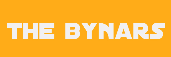 "Yellow colored banner with text ""The Bynars"""