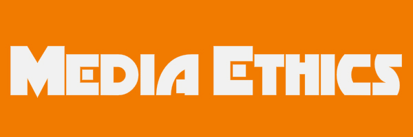"Orange colored banner with text ""Media Ethics"""