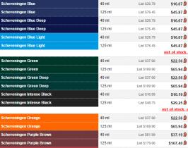 Screen capture of Dick Blick's prices for Old Holland's Scheveningen line of oil paints.