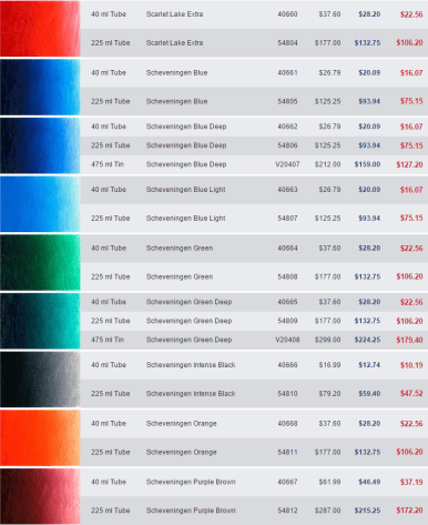 Screen capture of Jerry's Artaram prices for Old Holland's Scheveningen line of oil paints.