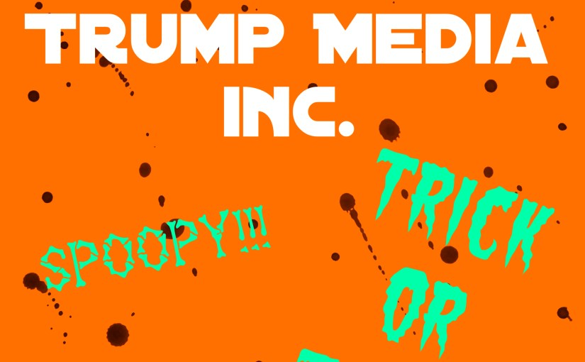 """Orange colored cover image with text """"Trump Media Inc."""""""