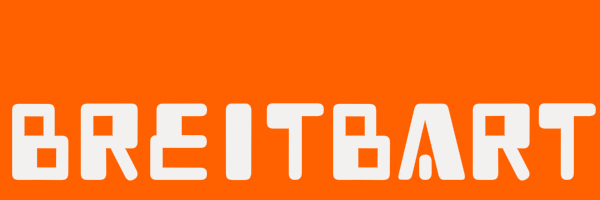 "Orange banner with text ""Breitbart"" in a stupid looking font."