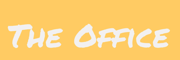 "Yellow coloed banner with text ""The Office"""