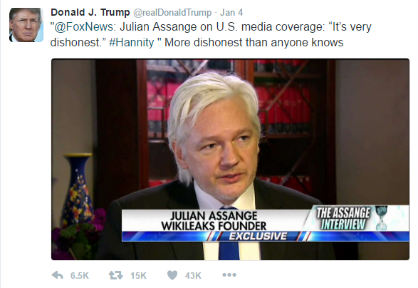 "Text of Trump's tweet is as follows: ""@FoxNews: Julian Assange on U.S. media coverage: ""It's very dishonest."" #Hannity "" More dishonest than anyone knows"