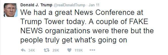 Text of Trump's tweet is as follows: We had a great News Conference at Trump Tower today. A couple of FAKE NEWS organizations were there but the people truly get what's going on