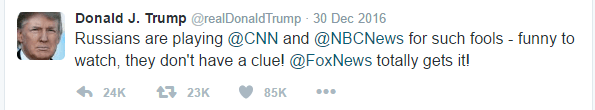 Text of Trump's tweet is as follows: Russians are playing @CNN and @NBCNews for such fools - funny to watch, they don't have a clue! @FoxNews totally gets it!