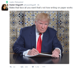 Tweet from @KarenKilgariff reads as follows: Make that face all you want that's not how writing on paper works