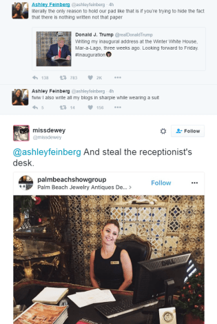 Tweet from @missdewey reads as follows: @ashleyfeinberg And steal the receptionist's desk.