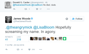 Screenshot of James Woods gloating over a mans death.