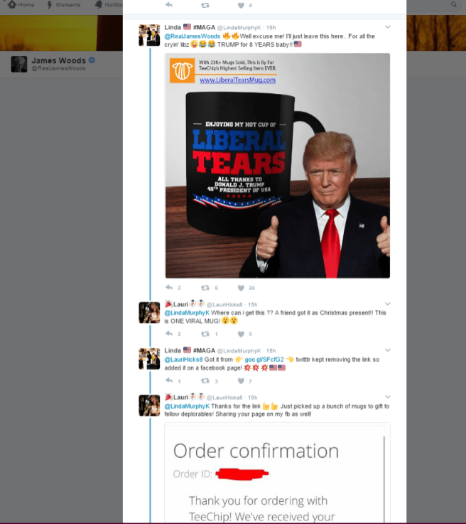 A screenshot of what looks to be like two spam accounts hawking merchandise in James Woods replies.