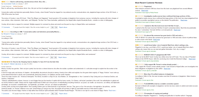 A screenshot of the Amazon Reviews section for Monica Crowley's book