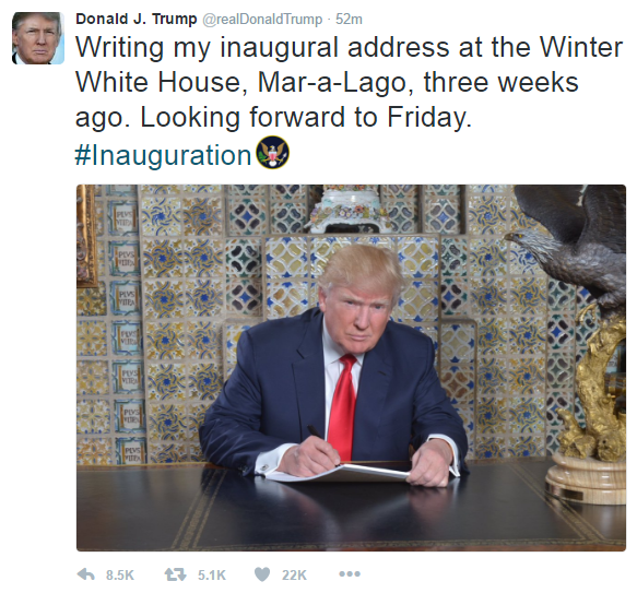 The text of Donald Trump's tweet reads as follows: Writing my inaugural address at the Winter White House, Mar-a-Lago, three weeks ago. Looking forward to Friday. #Inauguration