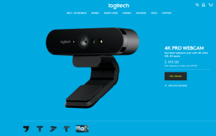 A screenshot of Logitech's 4K Pro webcam sales page... which is identical to the Brio.